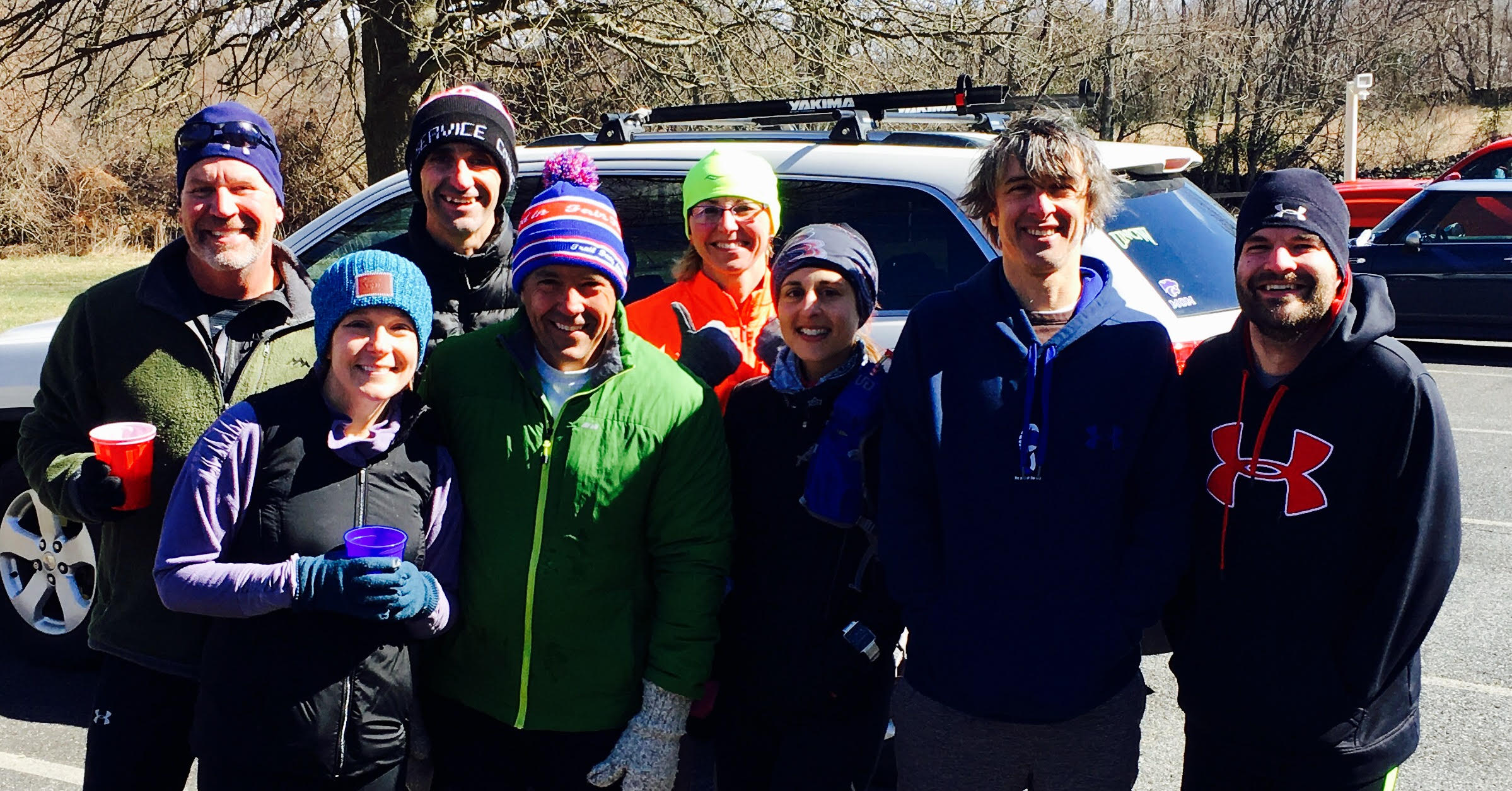 Charm City Run BelAir trail running group. Yes, I am as cold as I look (3rd from the right), and Mr Live Full (aka my husband John, 2nd from the left) is going to hear about it the whole car ride home.