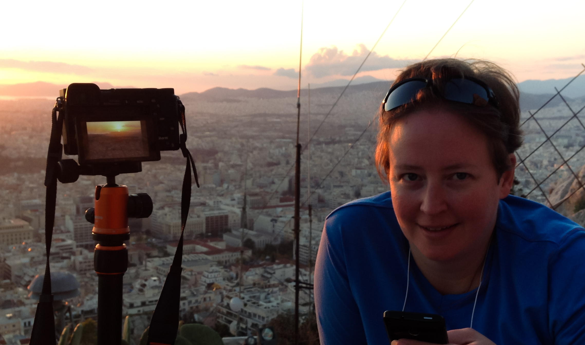 This is me capturing a sunset in Greece. I love using my phone as a remote shutter release when I'm using the tripod.