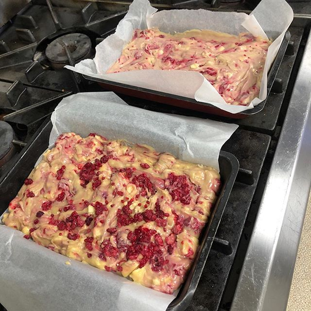 Today we made the signature Forte Blondies...white chocolate and raspberry! And they were delicious! #fortebakery #lovebaking