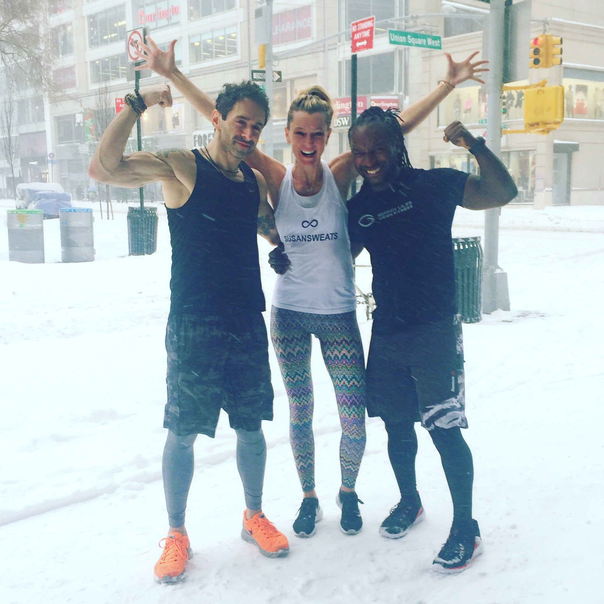 Outside Reebok Union Square's Fitness Hub Store with L to R: Jeese Alexander, Barry's Bootcamp Instructor, Gerren Liles, ReebokONE ambassador, Equinox instructor and founder of Vision Fitness