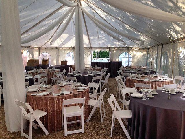 Beautiful tent wedding #tent #wedding #decorationsbyrick #rustic #wonderfulwedding #sequence #fabric #stunning #decor #decoration #reception #chairs #ceilingswag #beautiful #banquet #hall