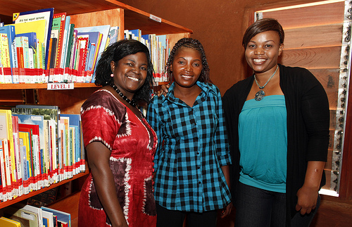 Deputy Headteacher Florence Haachilema with two  Ngwerere teachers/librarians