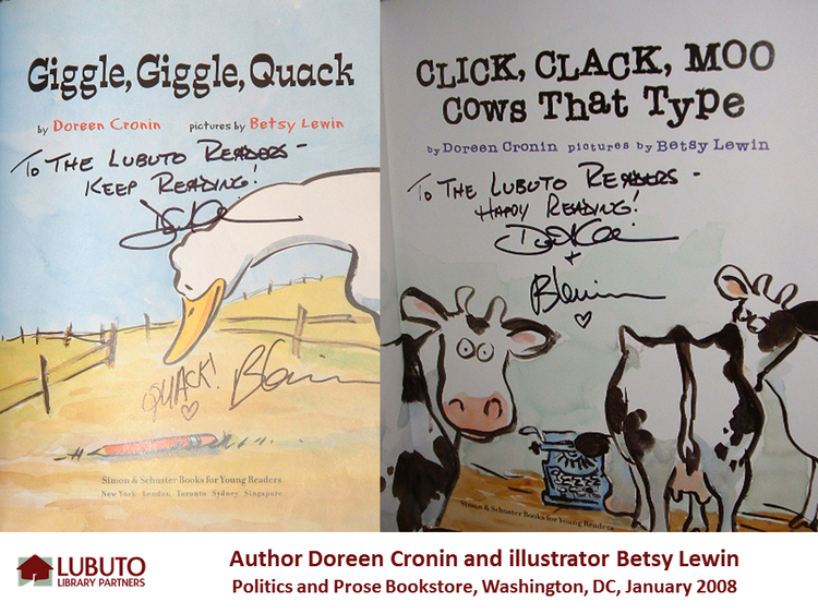 Giggle, Giggle, Quack  and  Click, Clack, Moo Cows that Type  by Doreen Cronin and illustrated by Betsy Lewis
