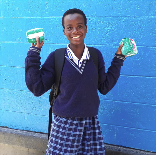 Stella completed the DREAMS mentorship program and was selected for a scholarship of a monthly supply of pads - she has no reason to miss school anymore.