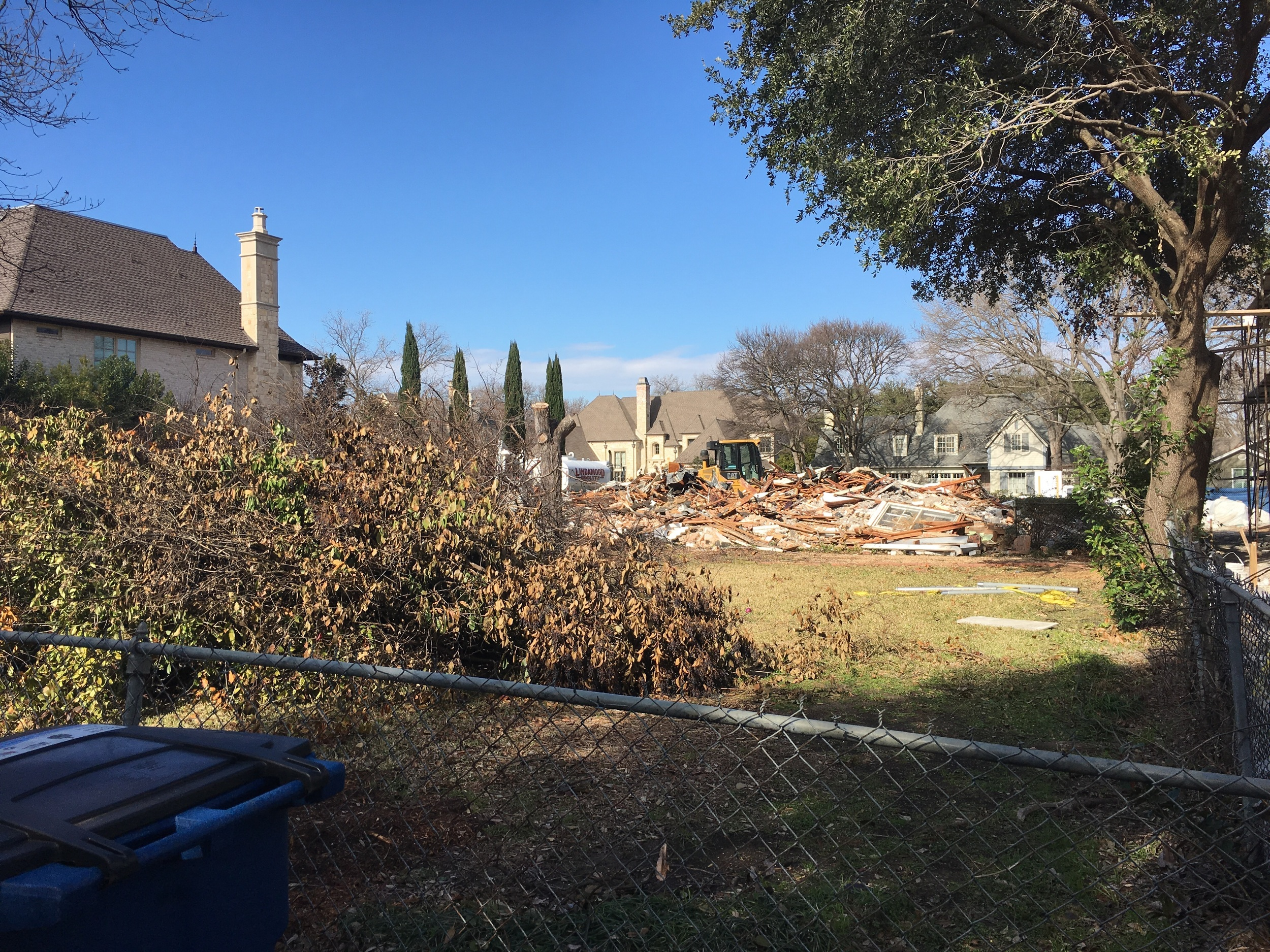 House is down and the lot is being prepared for the latest Faulkner Perrin home.