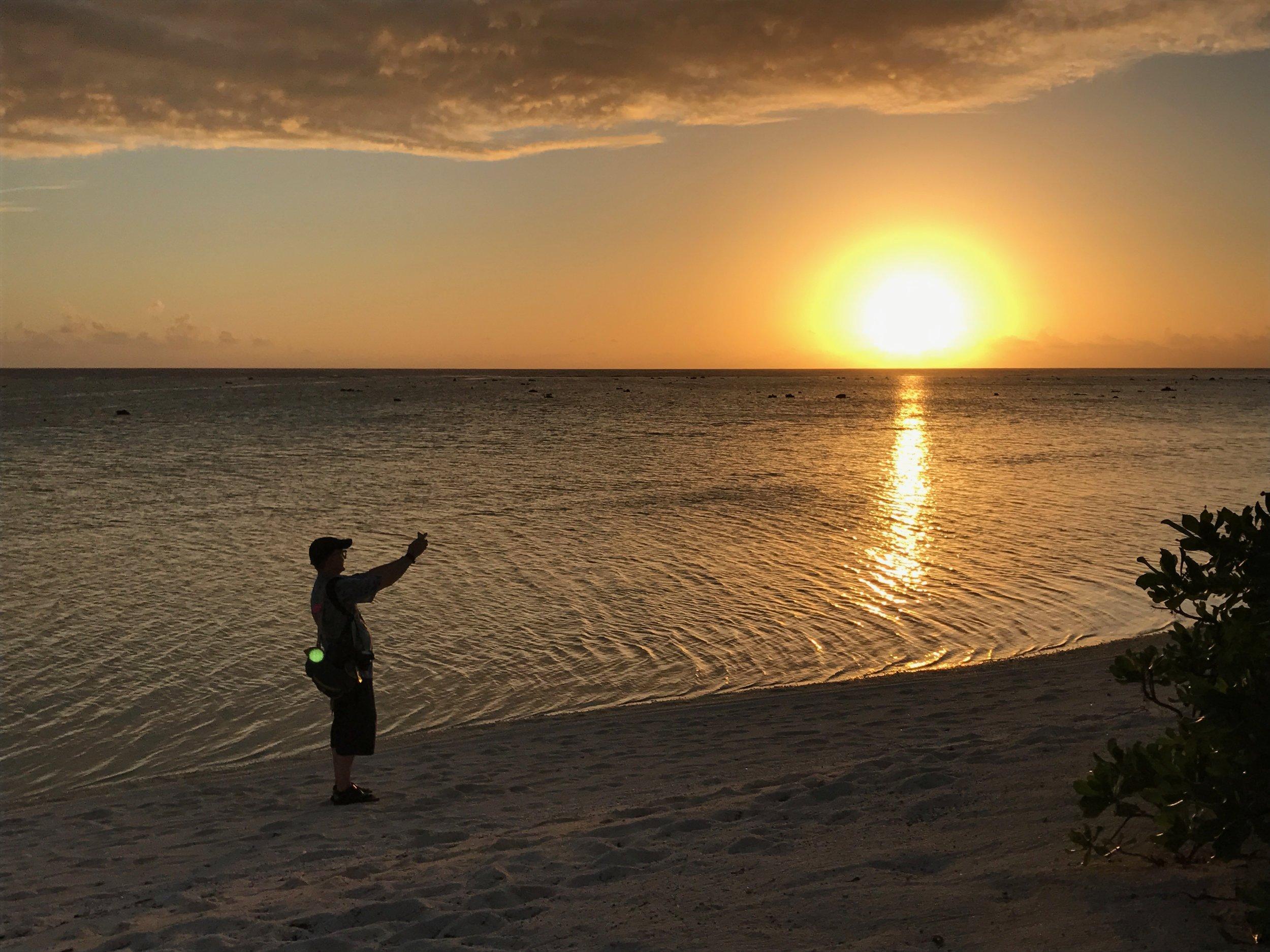 French Polynesia The Brando Tom shooting the sunset