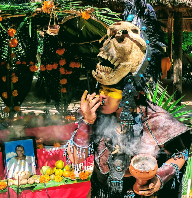 The multi-tiered creations I'm here to see are the altars erected to offer ancestors their favorite foods, flowereds, and 'toys' at ancient ceremonies led by Mayan shamans.