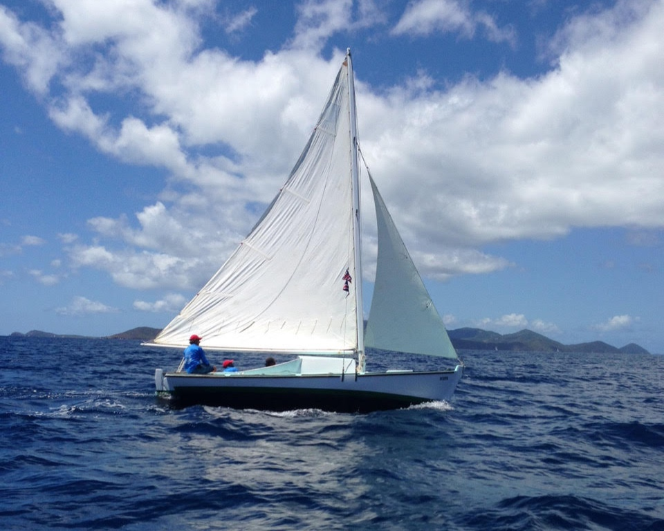 A traditional Virgin Islands sloop under sail