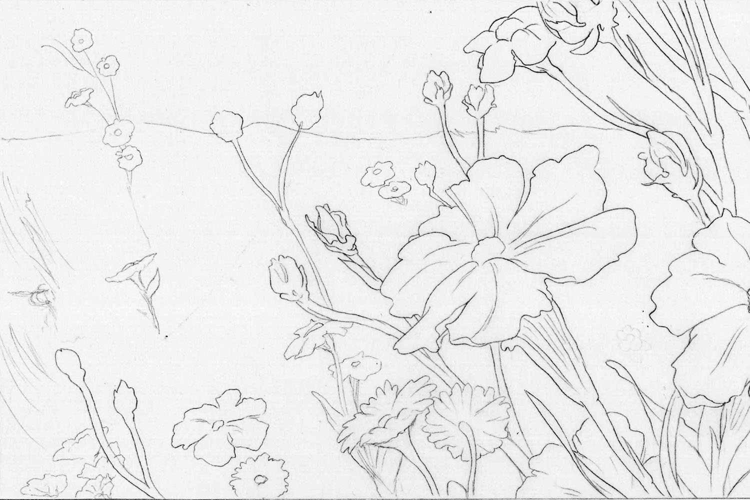 This is what the final drawing of the flowers looked like as I taped it down for paint.