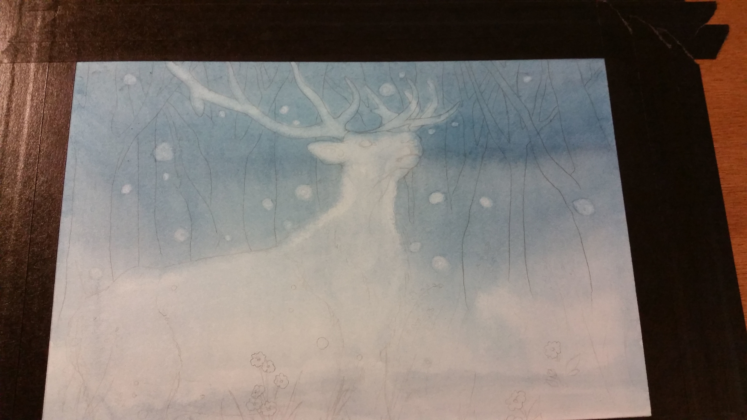 Initial wash on the stag piece