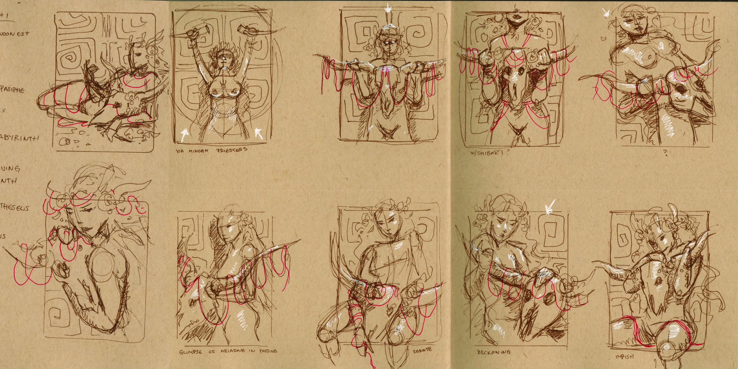 Thumbnail ideas for Ariadne in a toned paper sketchbook