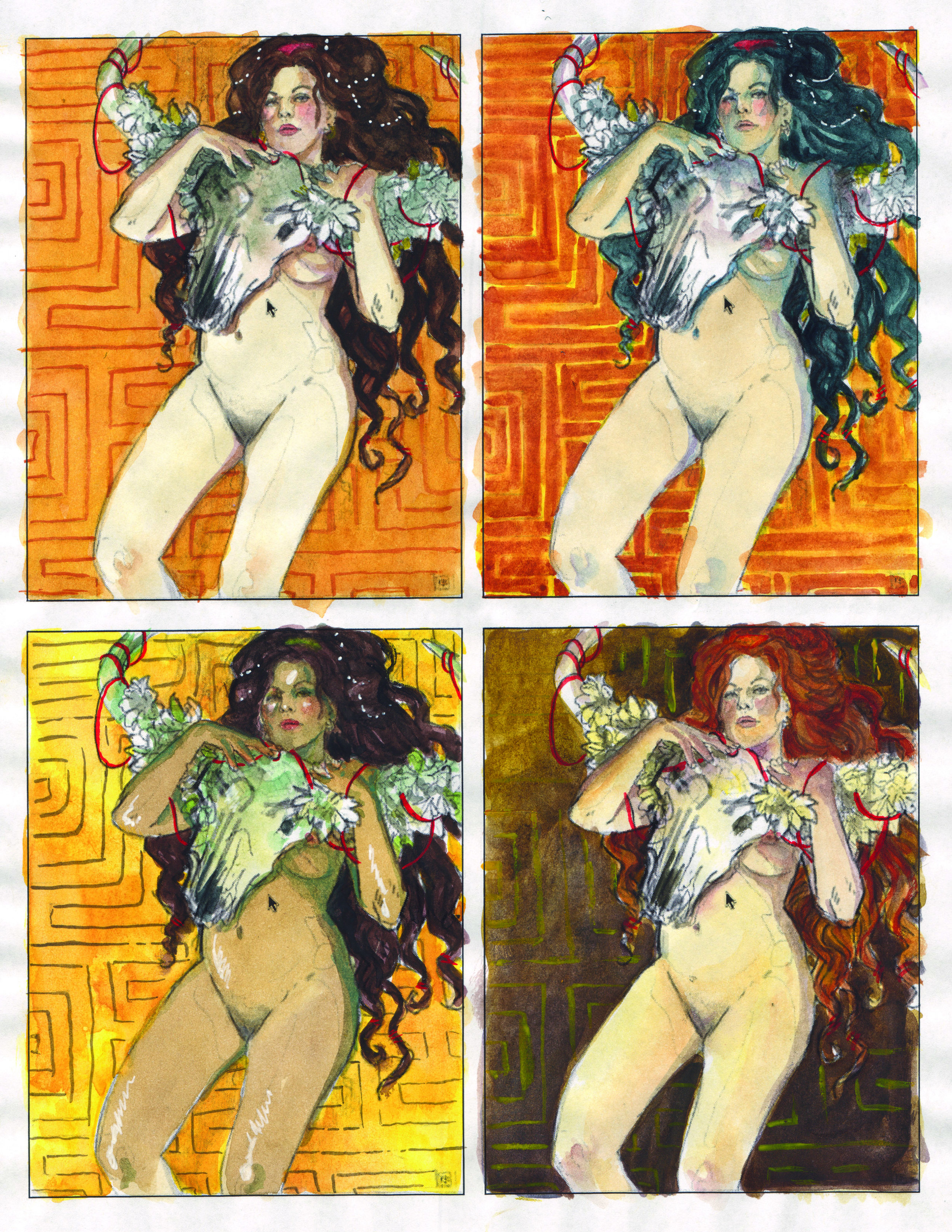 Revised color study ideas. I think they have a kinda Milo Manara vibe going on.