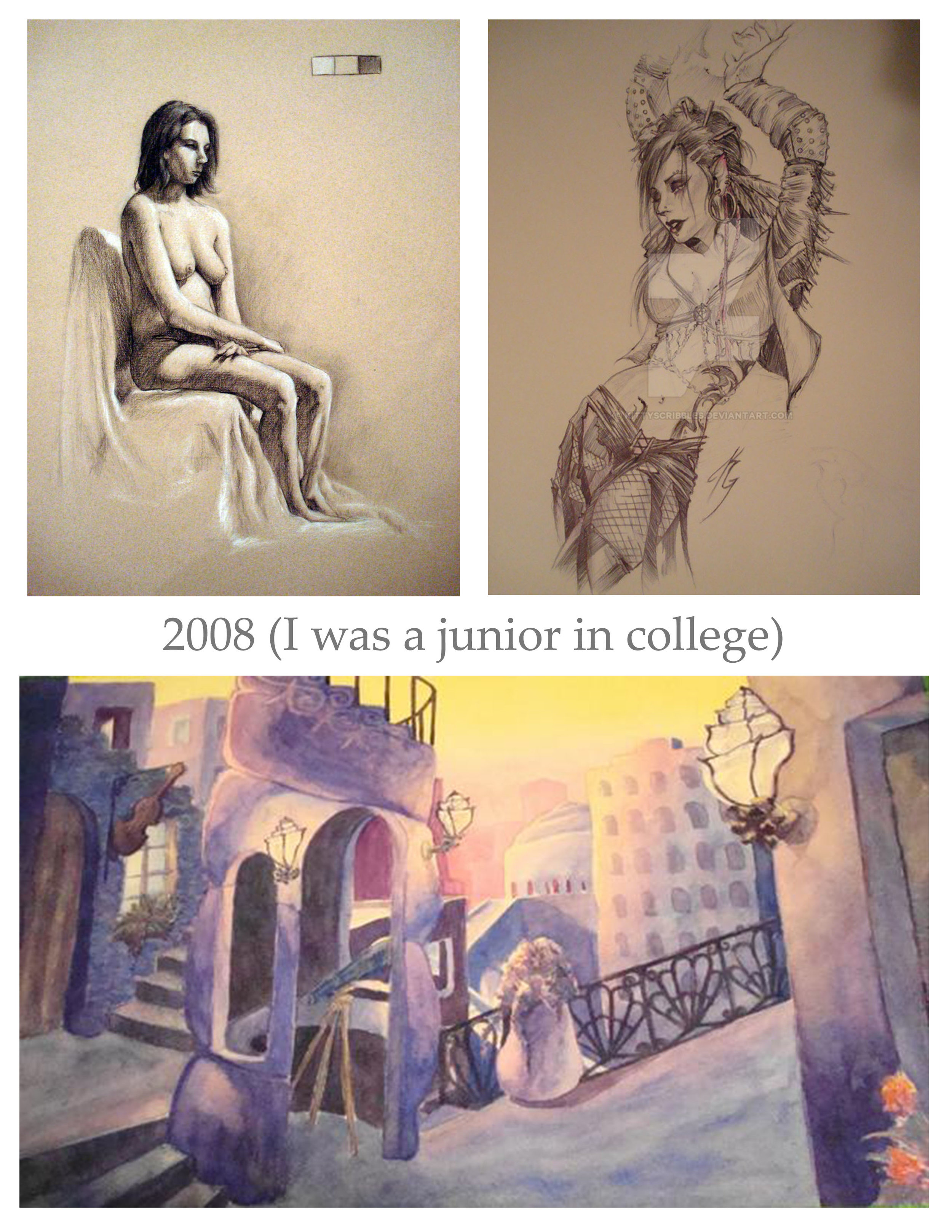 "Top left: charcoal study from final semester of life drawing. Top right: character sketch in ballpoint. Bottom"" watercolor piece half way through my first watercolor course."