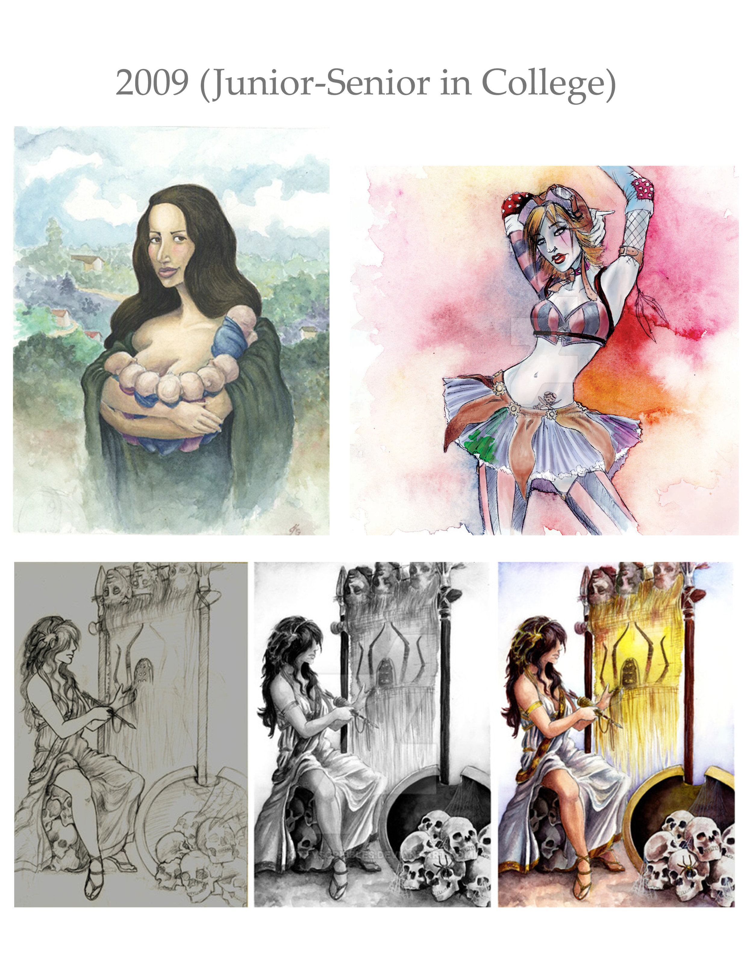 Top left: Octomom editorial piece in watercolors. Top right: mixed media CD cover assignment. Bottom: process portfolio of Arachne, done in watercolors.