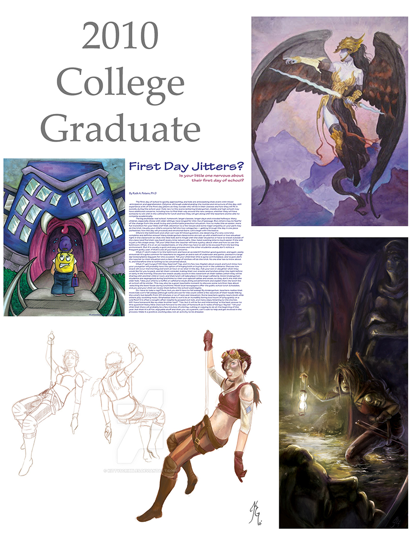 Top right: watercolor study of an oil painting by Brom. Top left: editorial watercolor piece with type face for a mock magazine spread. Bottom left: digital character turn around (and sadly the piece that hung up in the BFA Graduation show). Bottom right: a digital piece done for an online challenge the winter after I had graduated.