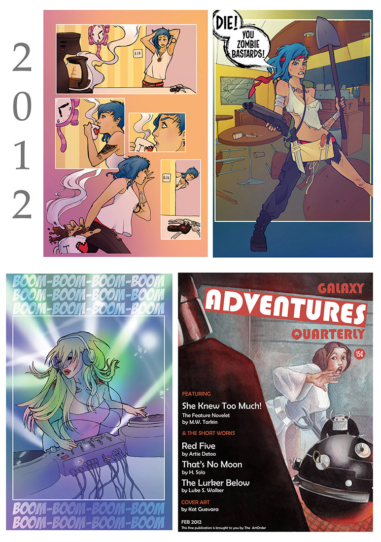 Top two and bottom left: digital color work I did for an online web comic. Bottom right: mixed media piece for one of the first gallery shows I would ever do.