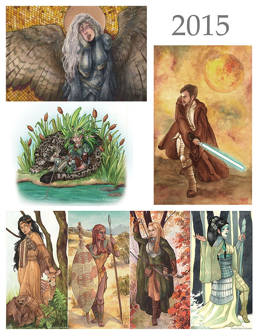 Top left: Vexed by Knowledge, watercolors and gold enamel based off an idea for a MTG card (what can I say, I still liked MTG). Lower left: watercolor and white ink character sample for Paizo. Far right: watercolor and gold enamel character piece for a secret Santa art exchange. Bottom: four seasons in watercolors.