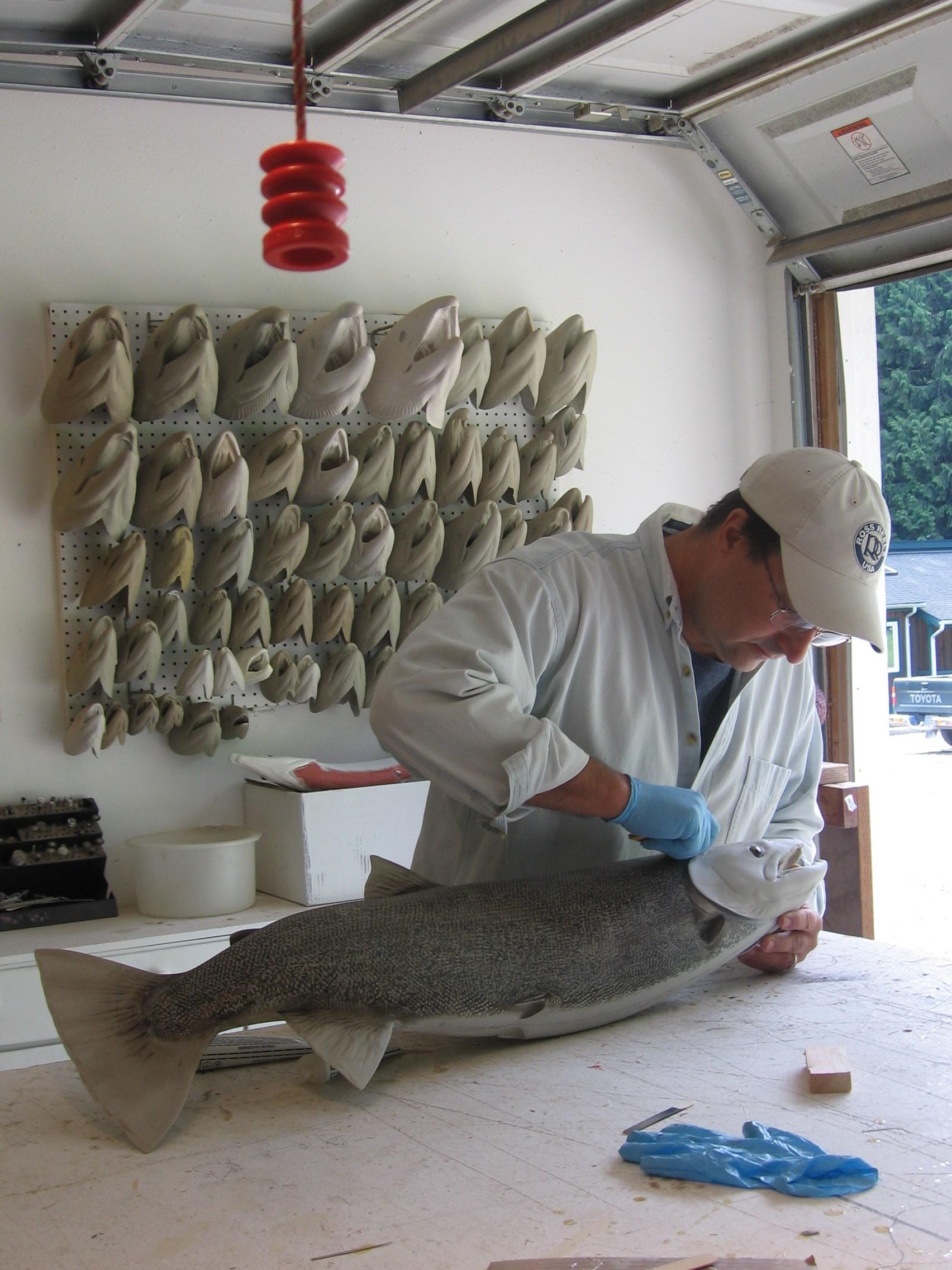 Luke Filmer of Blackwater Fish Replicas working on custom steelhead blank