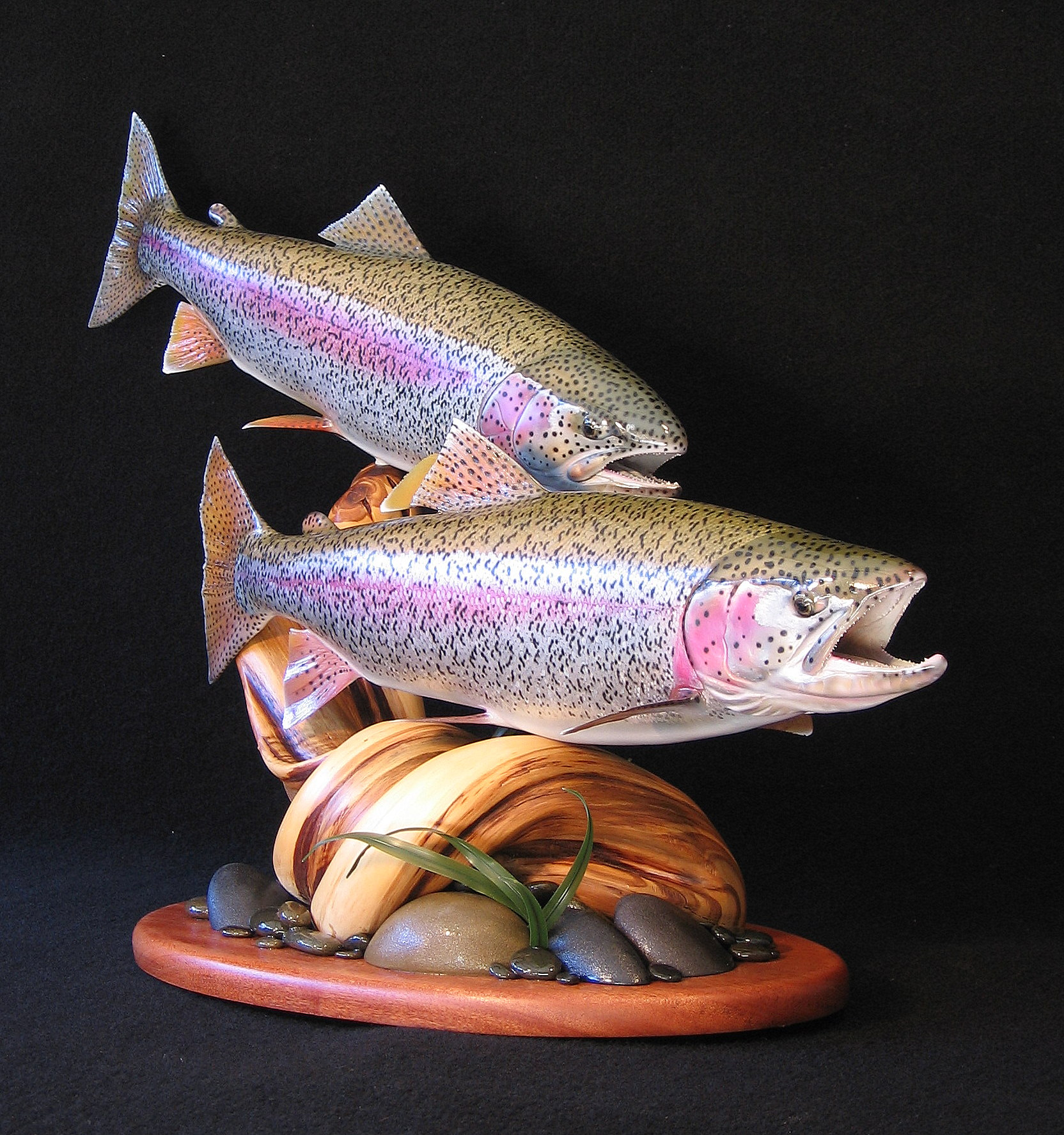 Alaskan double rainbow trout pedestal fish art replica sculpture Luke Filmer