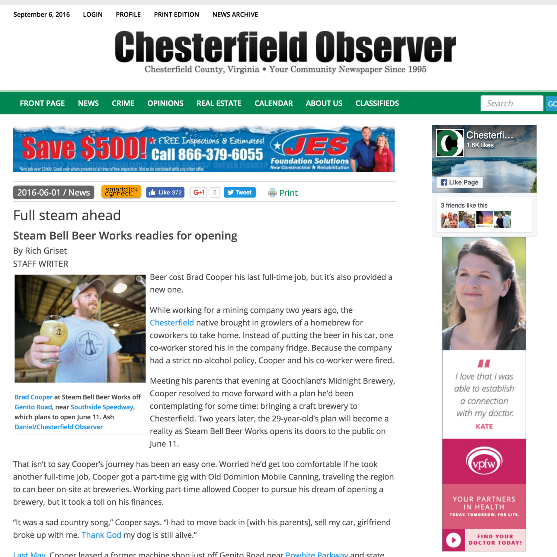 Chesterfield Observer, September 2016