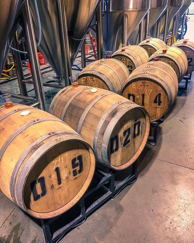 There are a lot of good days inside a brewery but barrel blending day might be our fave 🤗 Today we're taking samples from some of our sour white wine barrels and blending the batches together for a little surprise that we'll be releasing at our 3rd Anniversary Party! Save the Date for June 8th. #hardjob #thatswhatshesaid #humpdayjokes