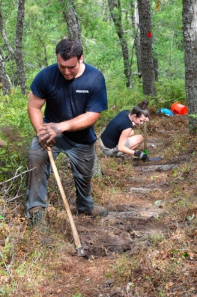 September Trailblazers put in natural stairs on the steep hill.
