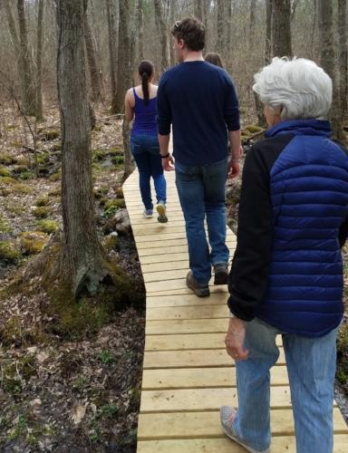 One of the new boardwalk trails at Brockton Audubon Preserve.