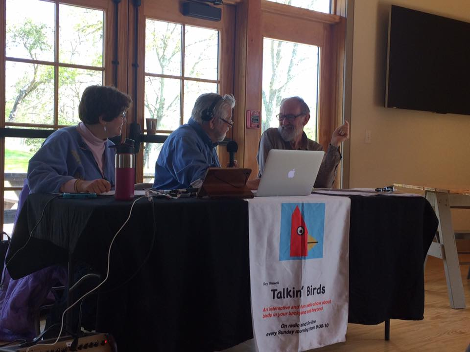 From the left: Debbie Bleacher, Ray Brown, and Trevor Lloyd-Evans broadcasting live on Sunday, April 30 from Wildlands Trust.