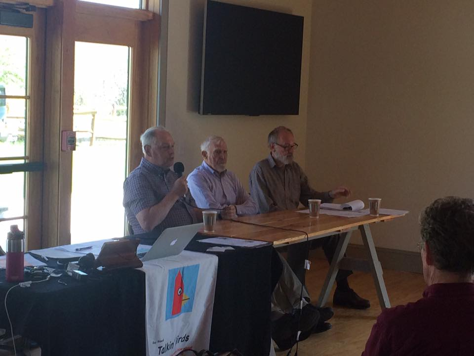 """After the show, Wayne Petersen, Brian Harrington, and Trevor Lloyd-Evans hosted a panel discussion titled """"Climate Change: Listen To What The Birds Are Telling Us""""."""