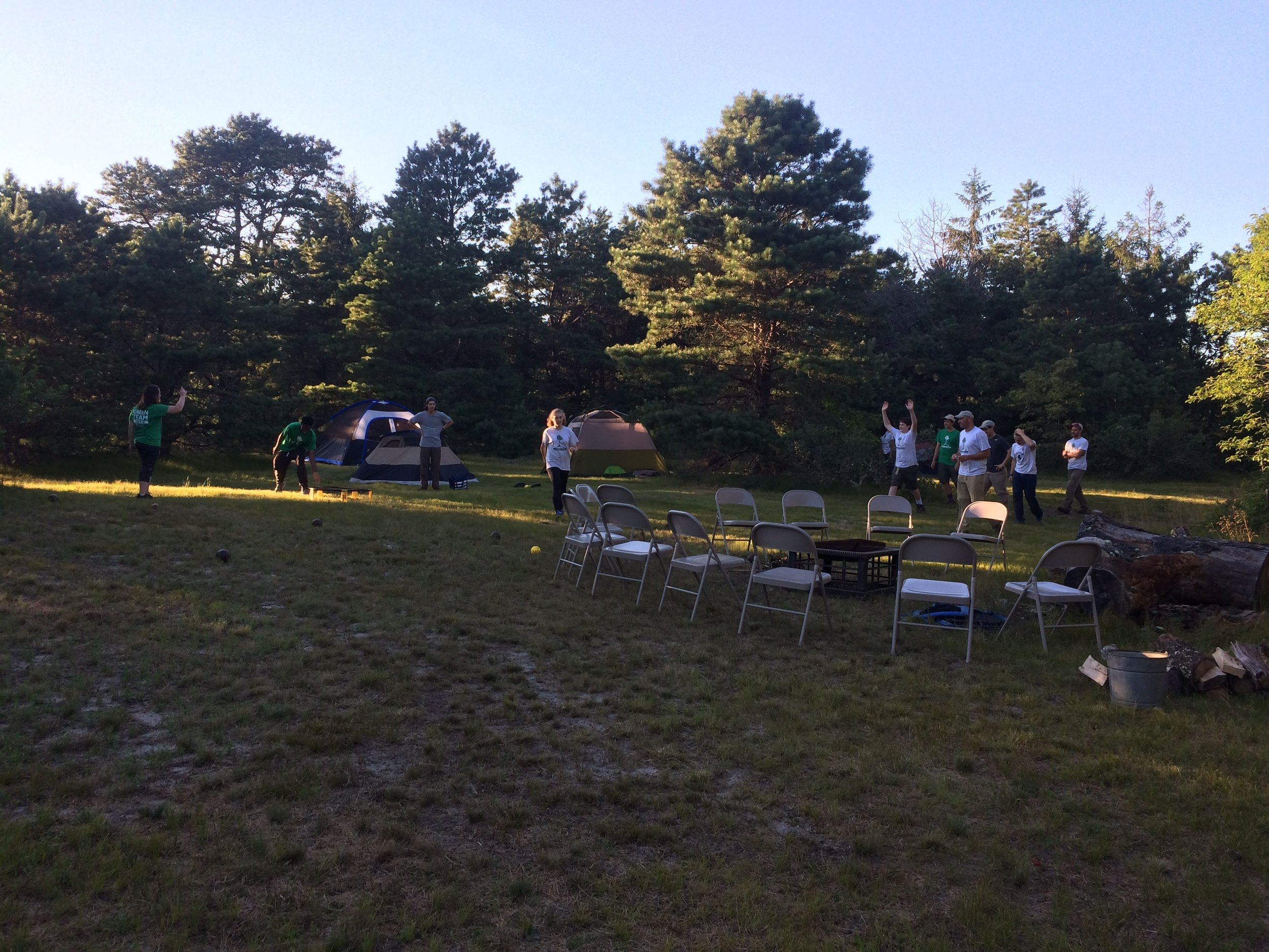 Day Five, pm: Team campout at Old Field Preserve, Bourne.