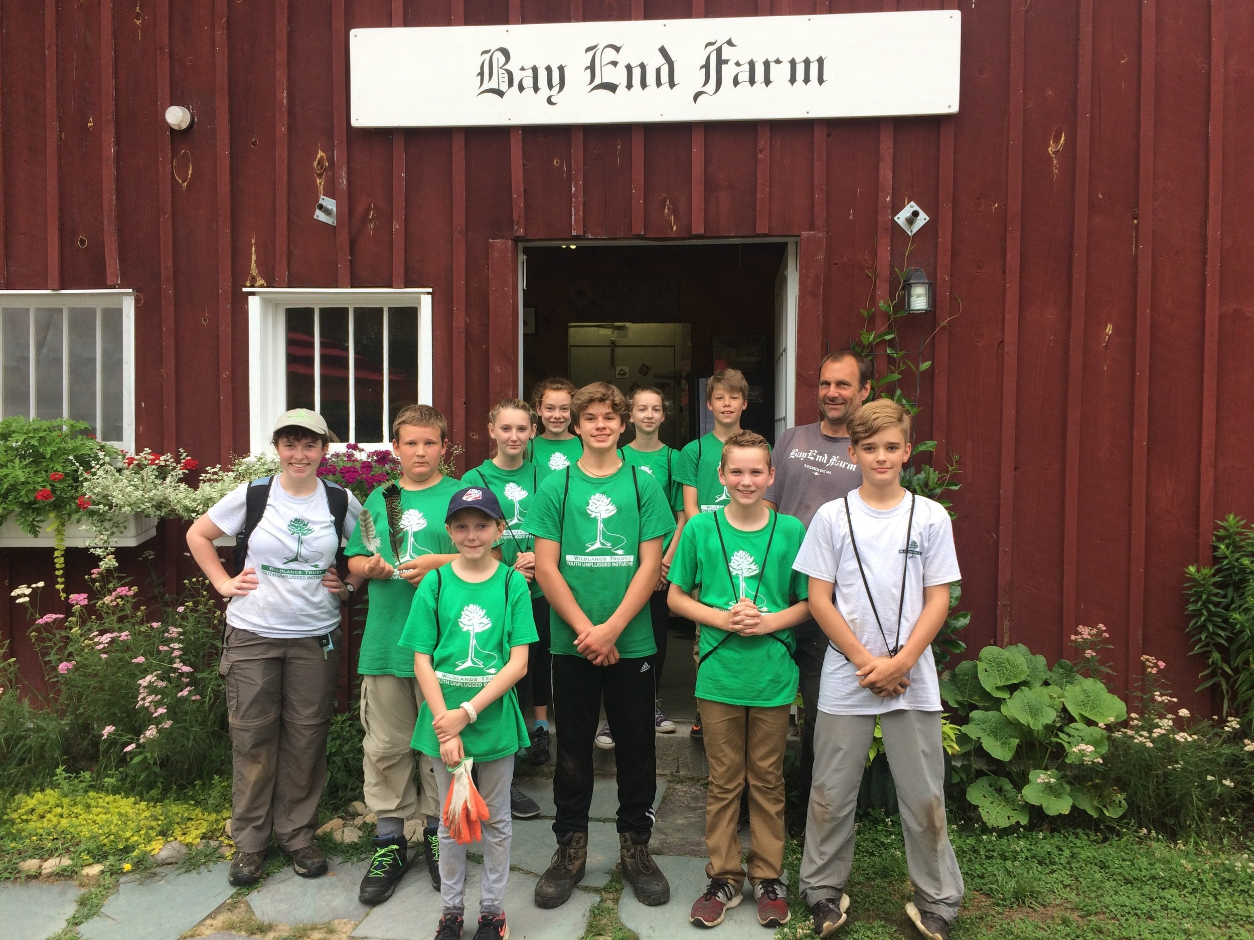 The 2017 Green Team middle school age group volunteers at Bay Farm in Bourne