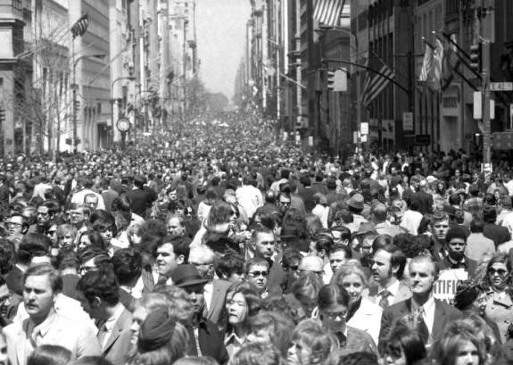 Thousands flood the streets of New York City during the first Earth Day, April 22, 1970