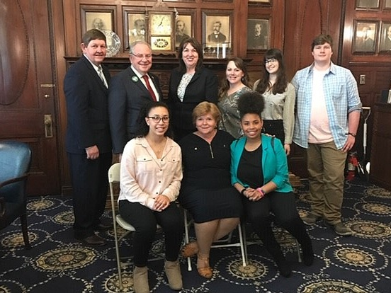 Brockton High teacher and Envirothon coach Joyce Voorhis received the 2019 Secretary's Award for Excellence in Energy and Environmental Education for the second time in 3 years. Her students and Wildlands staff accepted this award with her on May 6, 2019 at the MA State House, where they met Speaker of the House Robert DeLeo on a behind the scenes tour with State Representatives Claire Cronin and Gerry Cassidy.