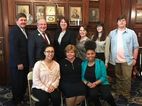 Brockton Envirothon team members met with Brockton State Reps. Claire Cronin and Gerry Cassady and Speaker of the House Robert DeLeo on May 6, 2019 after Joyce Voorhis (bottom row, middle) received the Secretary's Award for Excellence in Energy and Environmental Education.
