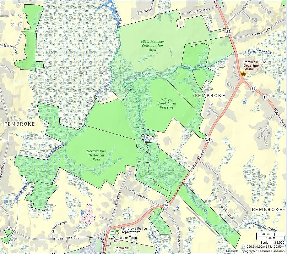 A map showing the shared borders of Misty Meadow Conservation Area, Willow Brook Farm Preserve and Herring Run Historical Park.