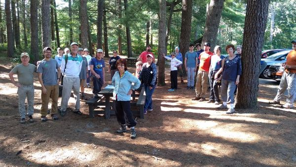 Sierra Club volunteers and Wildlands staff pose for a group photo at Myles Standish State Forest.
