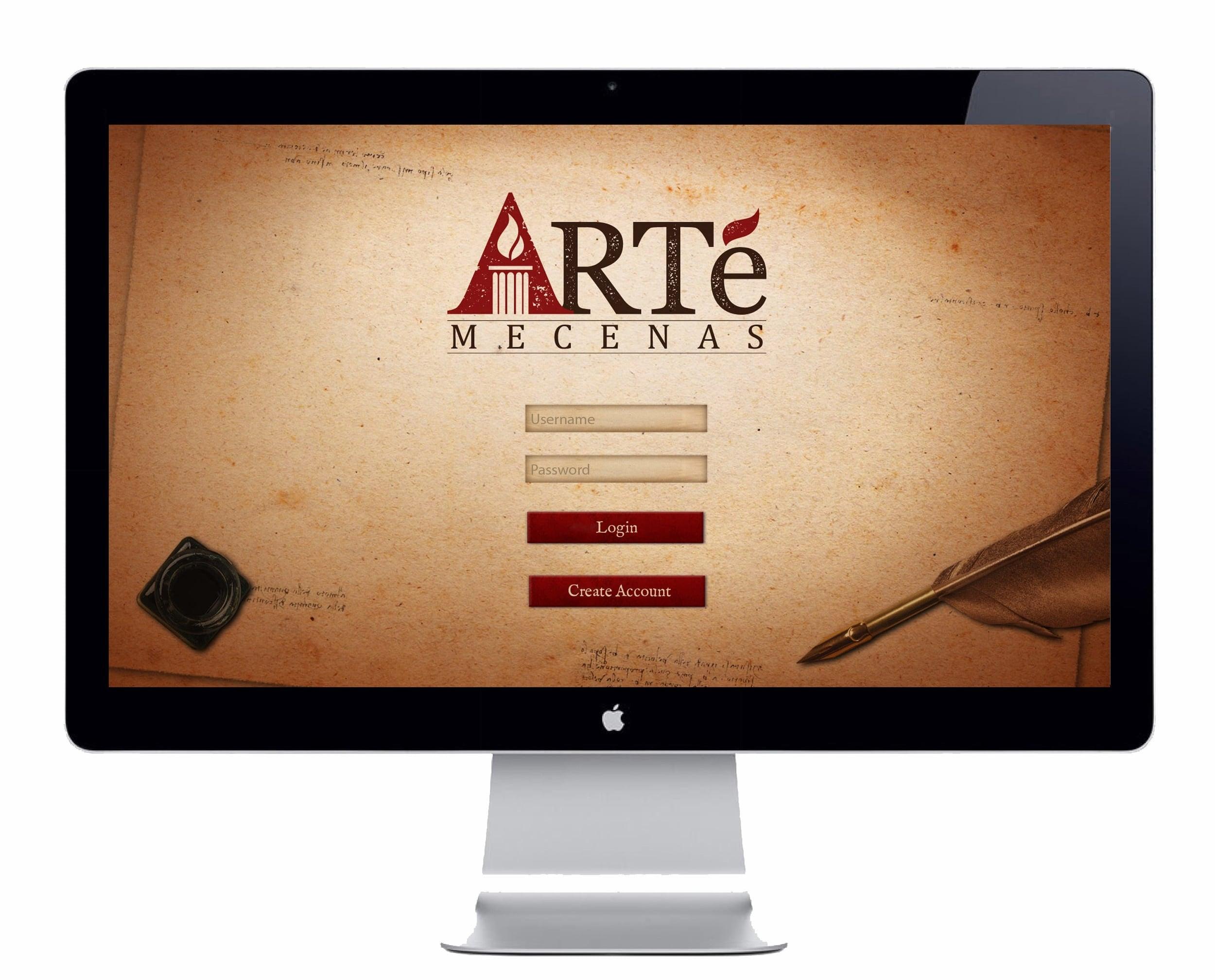 Arté: Mecenas Desktop Login Screen