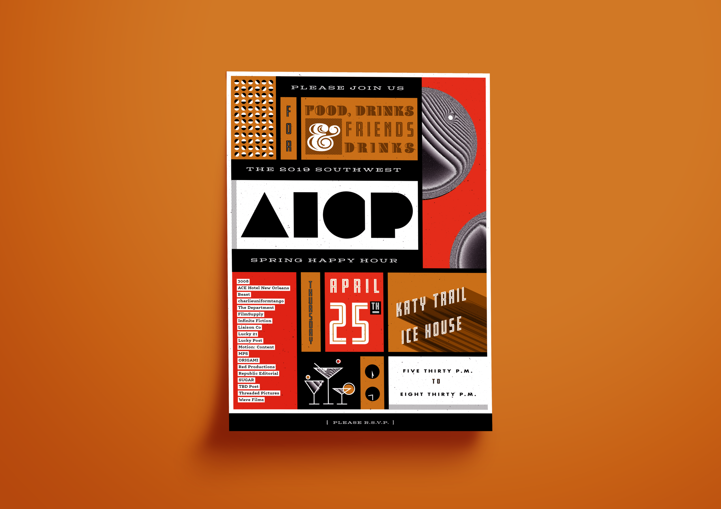 Invite designed for the spring Southwest AICP Happy Hour on behalf of the lovely folks at Infinite Fiction.