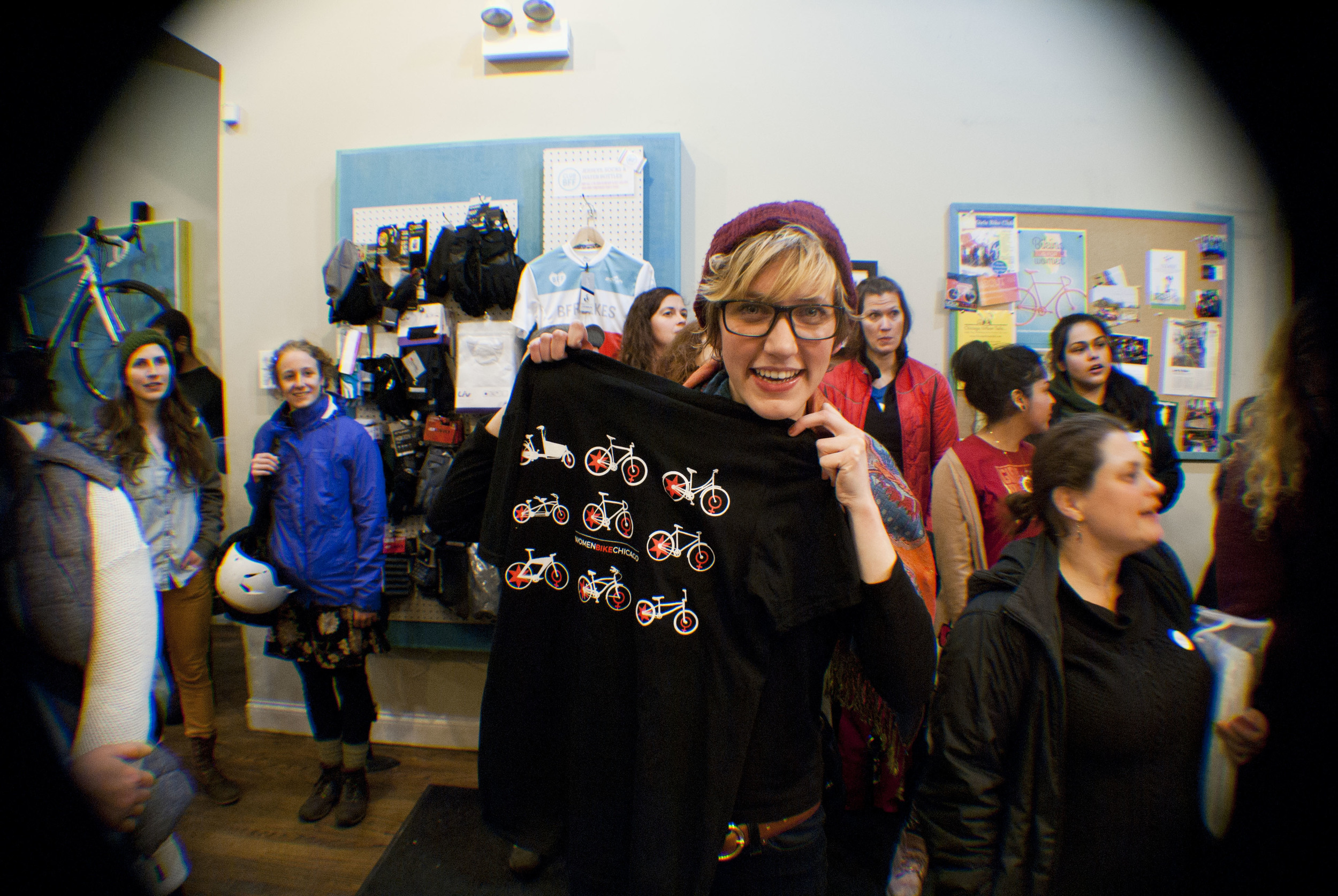 Our raffle winner of one of the first Women Bike Chicago t-shirts!