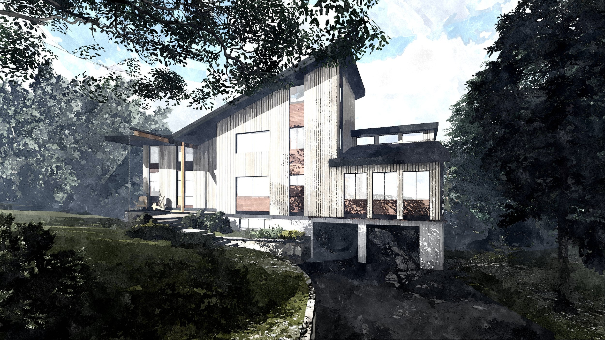 Exterior view of residence from entrance driveway...