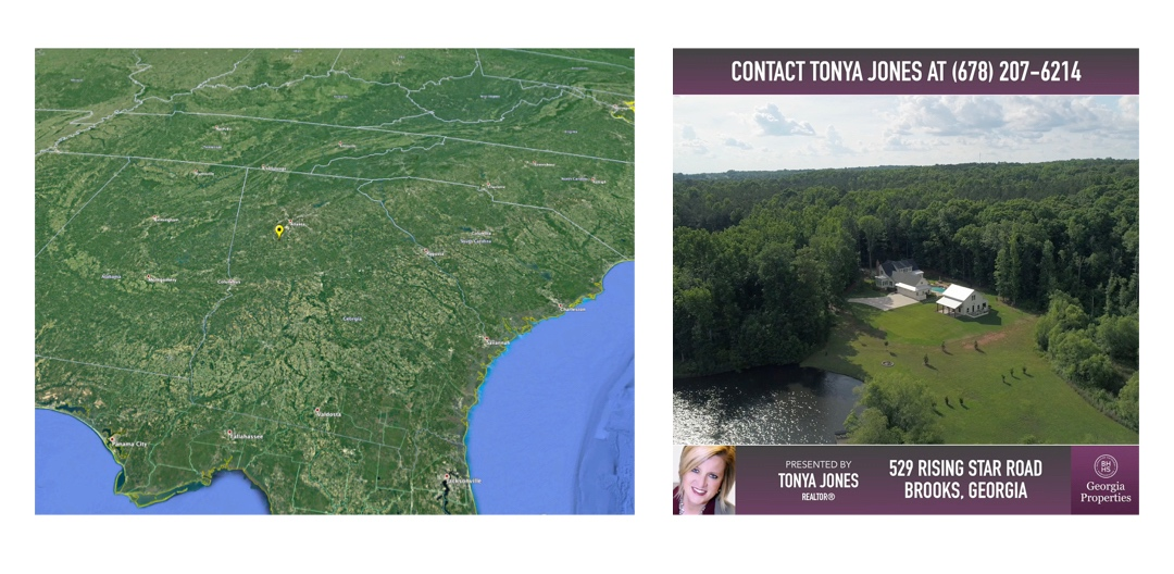 Screenshots of satellite imagery (left) and a video ad (right).