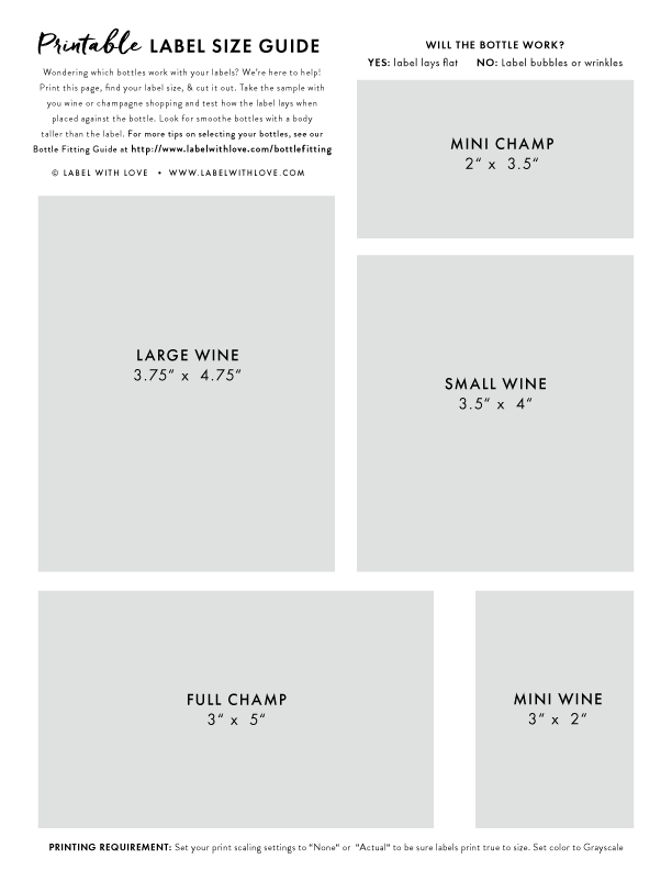Label with Love - Wine and Champagne Label Size Guide