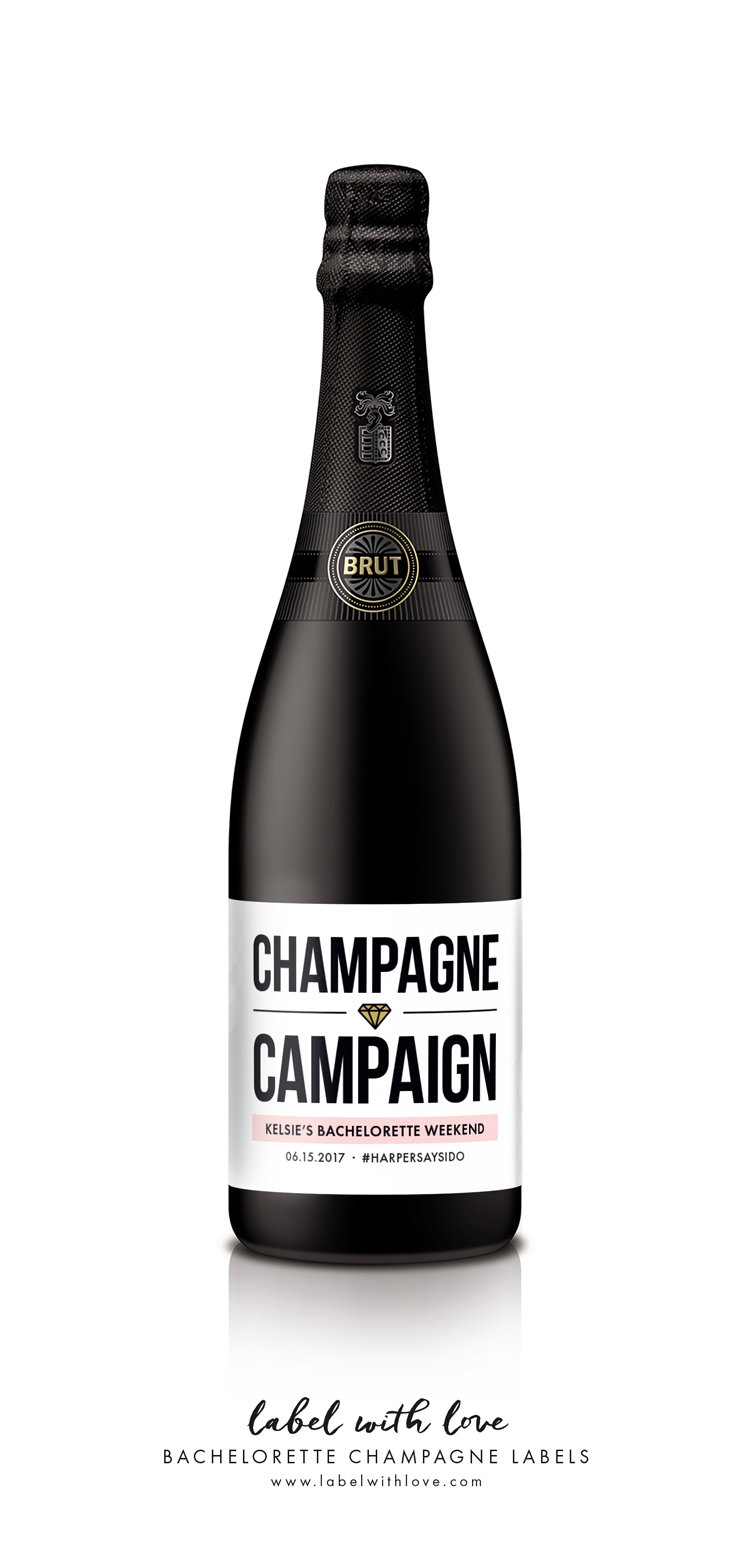 Champagne Campaign Bachelorette Wine Labels - by www.labelwithlove.com