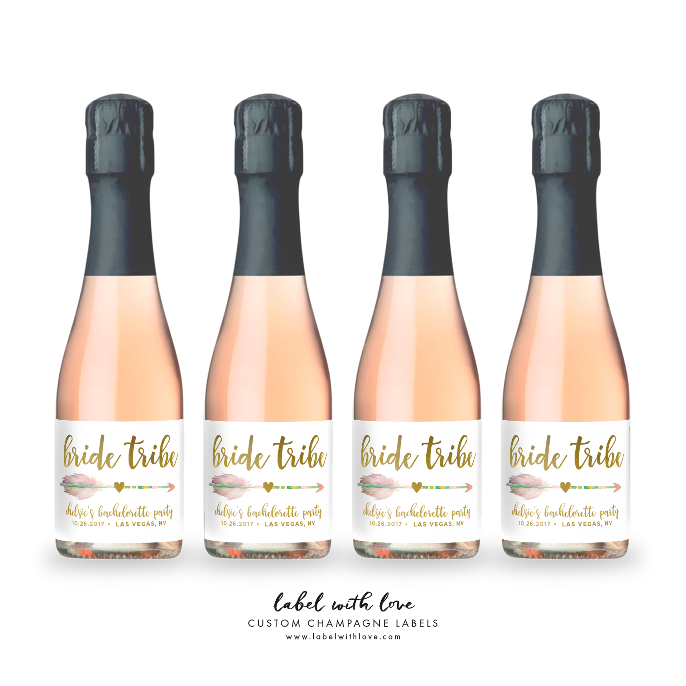 Bride Tribe Mini Champagne Labels - great for Bachelorette Party Favors by Label with Love