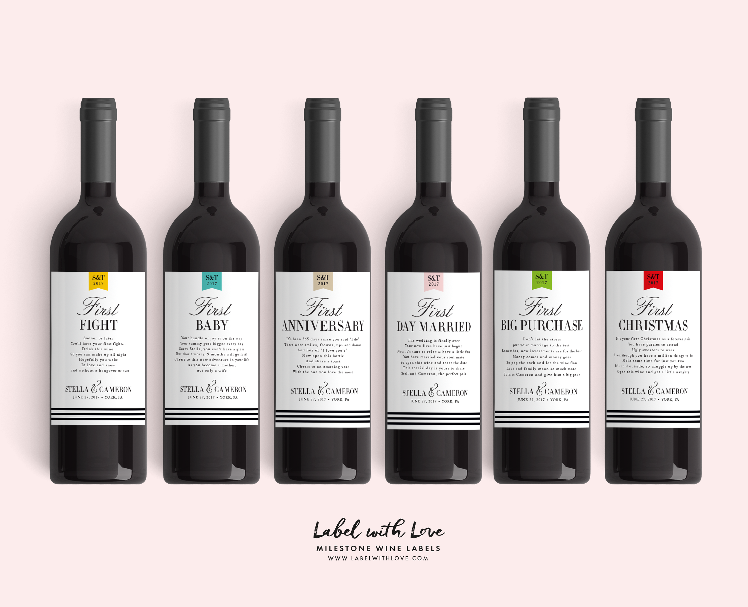 Married Milestone Wine Labels - by www.labelwithlove.com