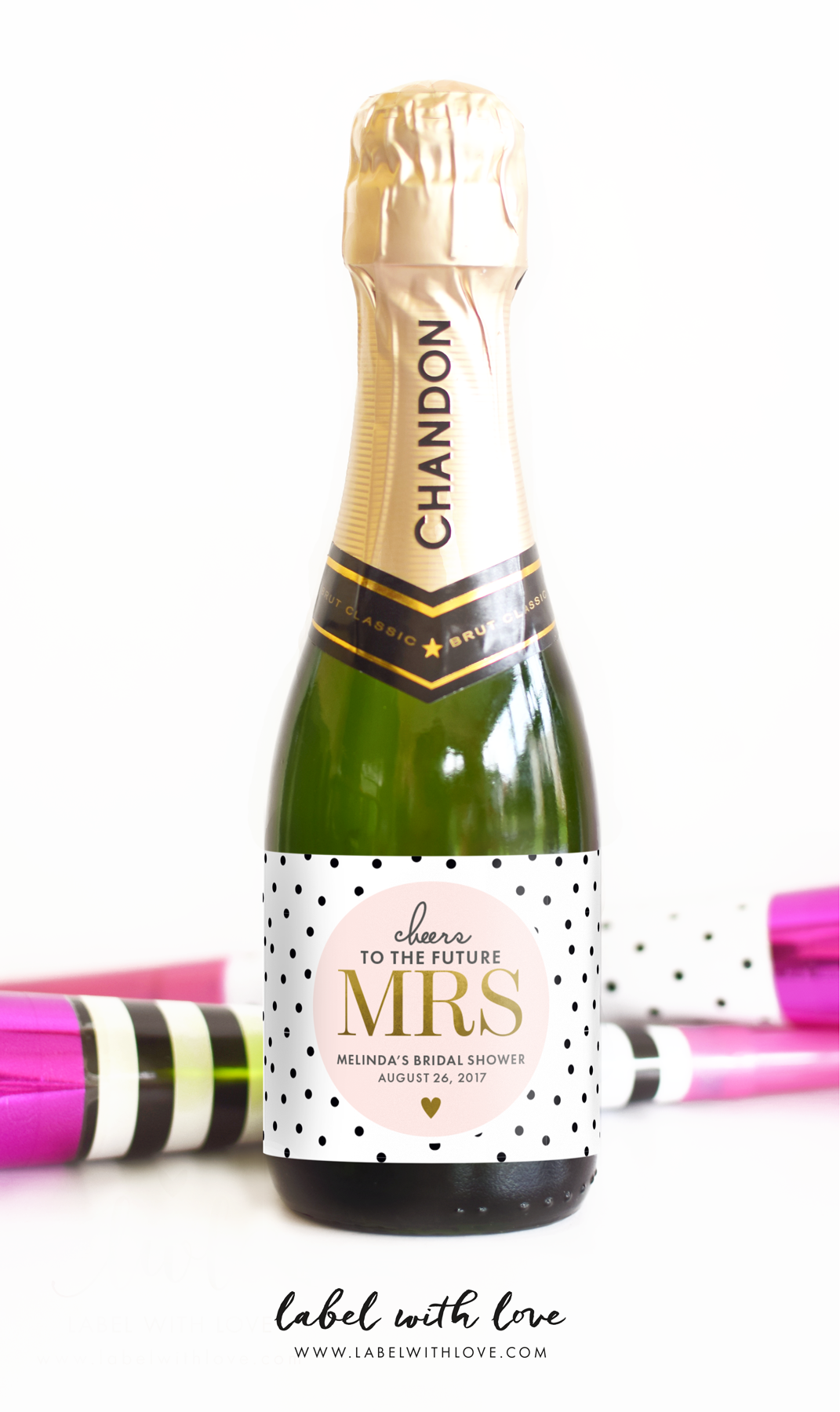 Cheers to the Future Mrs. Mini Champagne Labels by www.labelwithlove.com