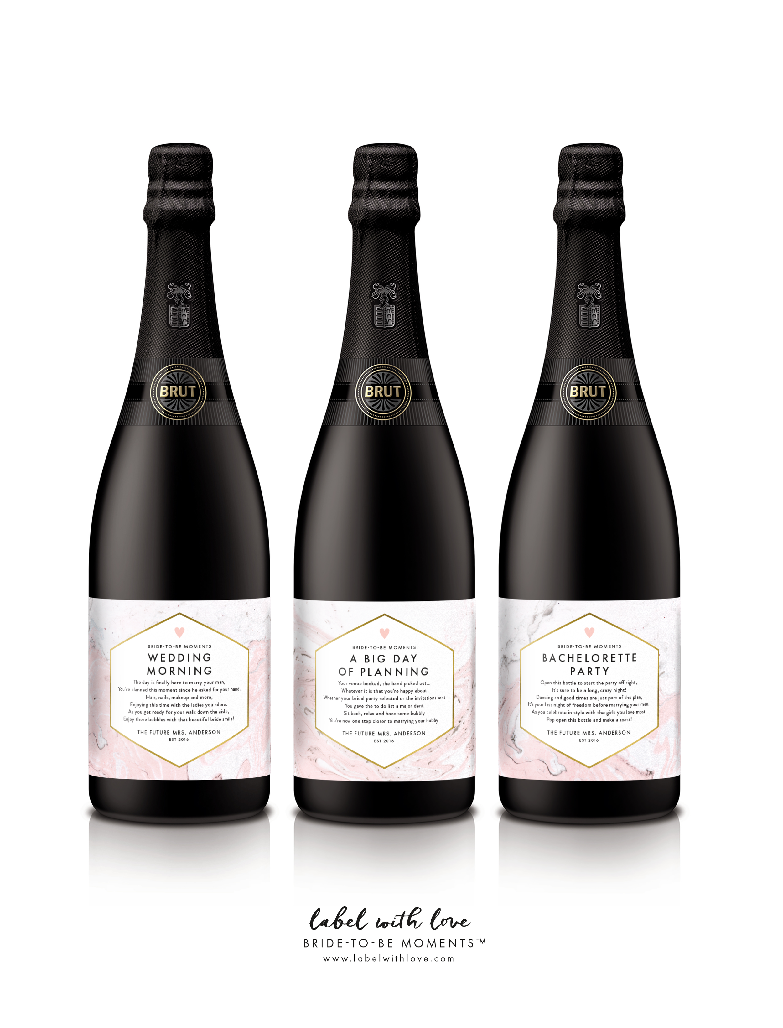 Bride to Be Moments - Champagne Labels - by Label with Love