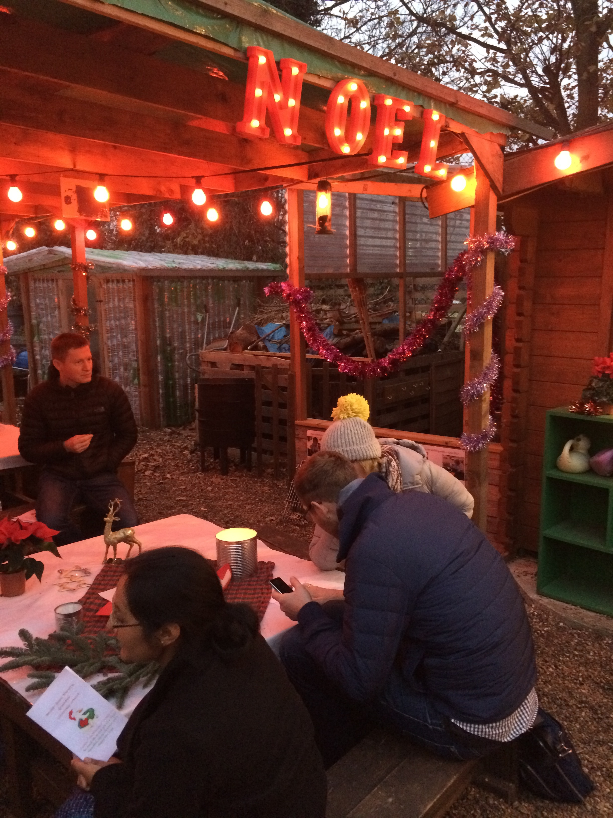 Mulled drinks and mince pies in the Wildlife Garden before the Mother Goose Christmas Show
