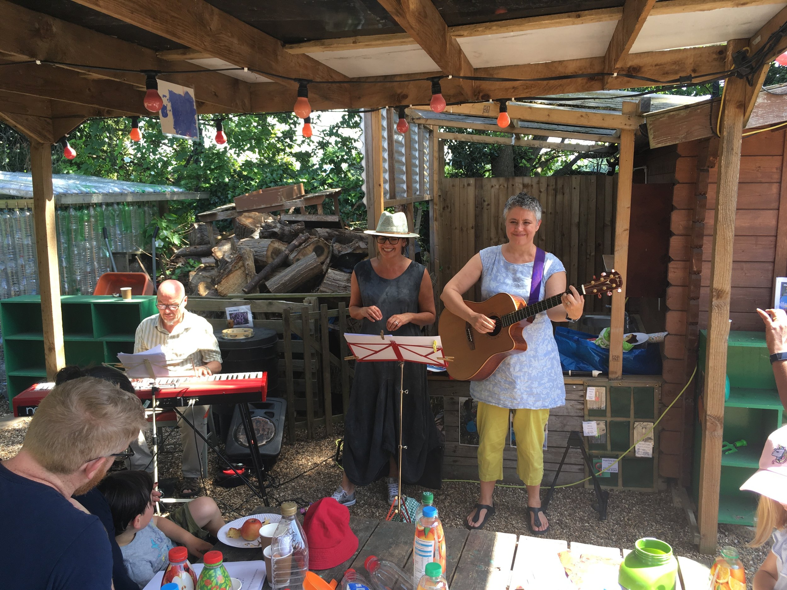 The band – Steve, Philippa and Cathy