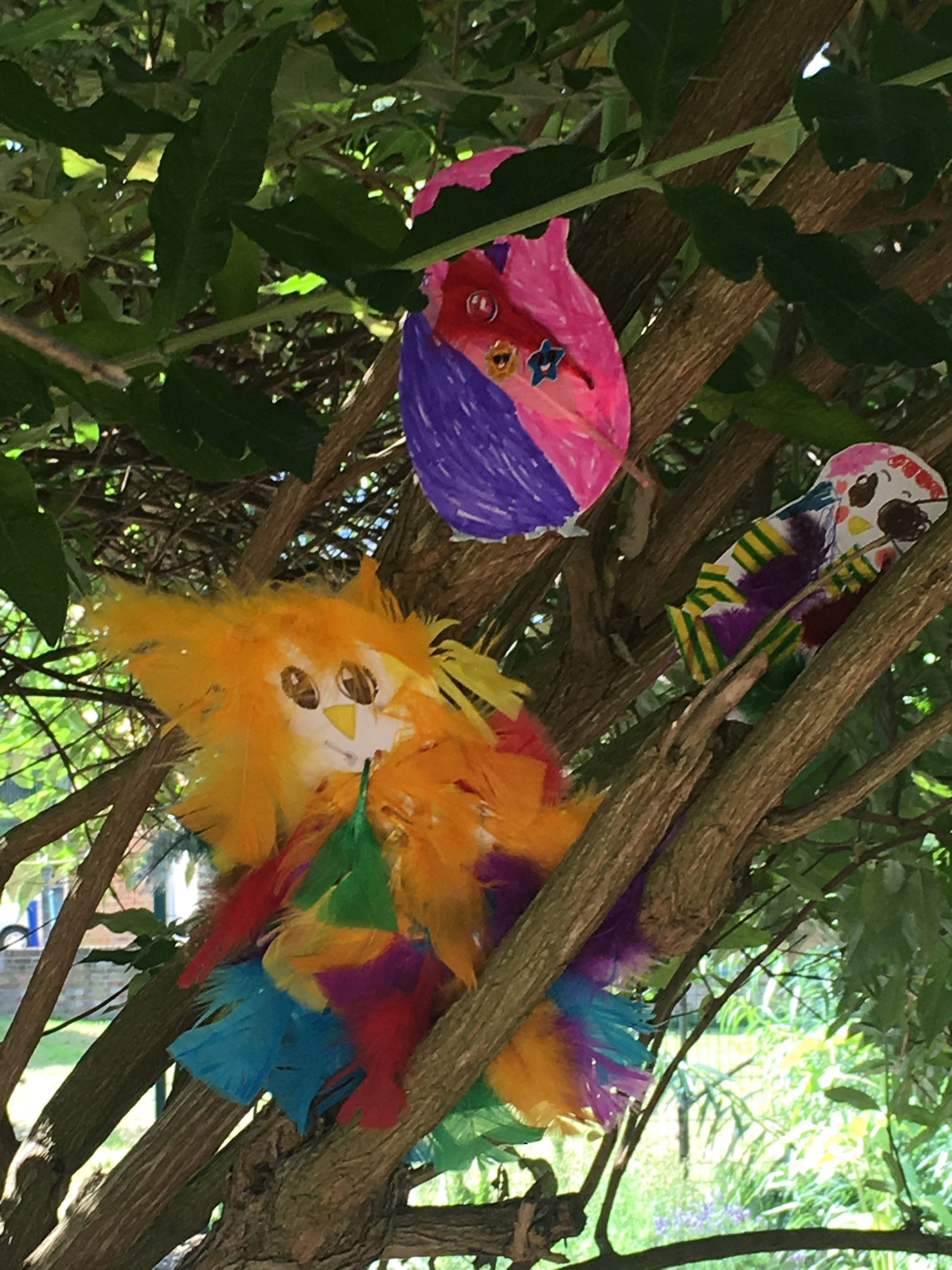 The children made their own owls to go with Cathy's  Owl Babies  song!